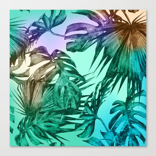 Simply Palm Leaves in Hologram Island Green Canvas Print