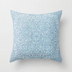 Mandala on Light Blue Jeans Throw Pillow