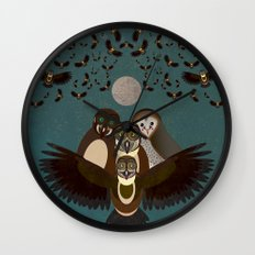 Owls in the Sky Wall Clock