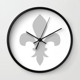 Fleur de Lis (Gray & White) Wall Clock