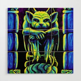 Gothic Gargoyle, Trippy Psychedelic by Vincent Monaco Wood Wall Art