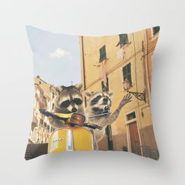 Raccoons on the road trip Throw Pillow
