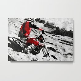 Owning The Mountain  -  Motocross Racer Metal Print