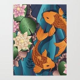 Carp Koi Fish in pond 002 Poster