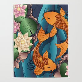 Carp Koi Fish in pond 002 Poster