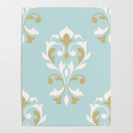 Heart Damask Ptn Gold Cream Blue Poster