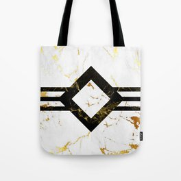 Abstract square golden marble pattern Tote Bag