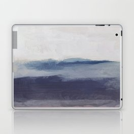 Plum Purple Navy Lavender Blue Abstract Painting Wall Art Prints, Ocean Waves Horizon, Modern Wall Laptop & iPad Skin