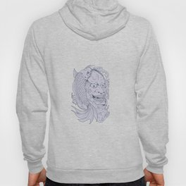 Hannya Mask and Koi Fish Drawing Hoody