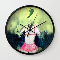 chile Wall Clocks featuring Oración al chile by Violeta Rivera