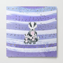 Tones Of Purple Bea Badger - Bagaceous Metal Print