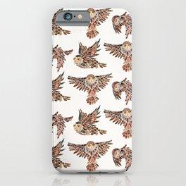 Owls in Flight – Brown Palette iPhone Case