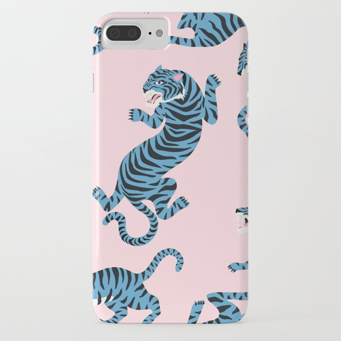 Pastel Pink & Blue Tiger Pattern iPhone Case