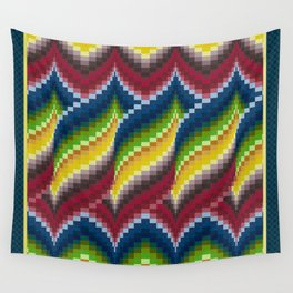 Bargello Quilt Pattern Impression 3 - red, blue, green, gold, ombre Wall Tapestry