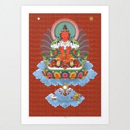 Buddha Amitabha with mantra Thangka Art Art Print