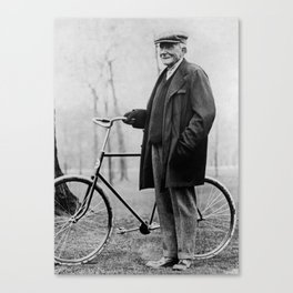 John D. Rockefeller with Bicycle - 1913 Canvas Print