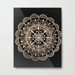 Rose Gold on Black Background Mandala #2 Metal Print