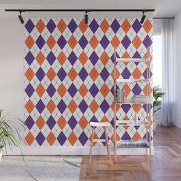 Argyle orange and purple pattern clemson football college university alumni varsity team fan Wall Mural