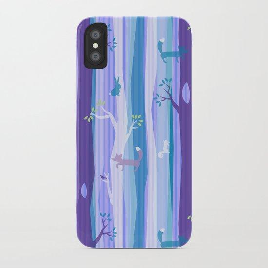 Purple Woodland Stripe iPhone Case