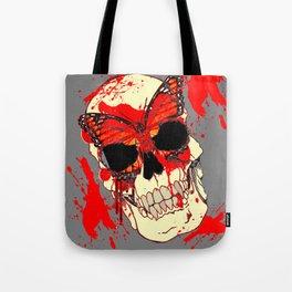 HALLOWEEN BLOODY SKULL & BUTTERFLY ART Tote Bag