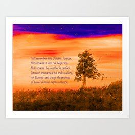 """""""Remembering October"""" Painting with poem Art Print"""