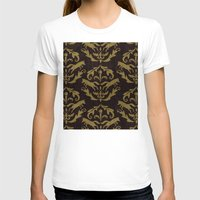 damask T-shirts featuring Fox Damask by Azure Cricket