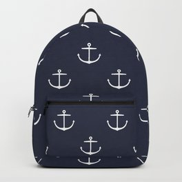 Yacht style. Anchor. Navy blue. Backpack