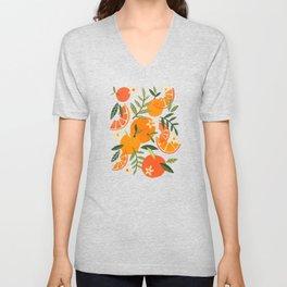 Orange Blooms – White Palette Unisex V-Neck