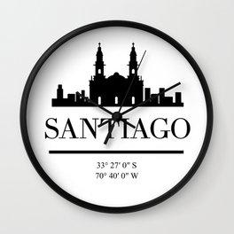 SANTIAGO DE CHILE BLACK SILHOUETTE SKYLINE ART Wall Clock