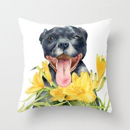 Joy | Pit Bull Dog and Daylily Watercolor Painting Throw Pillow