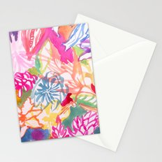 Abstract Watercolor Flowers Stationery Cards