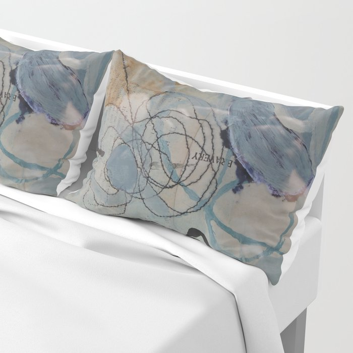 in sand cave - mixed media collage in teal, cream, black and gold by Pillow Sham