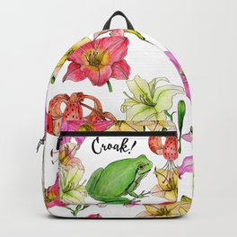 watercolor frog with lilies Backpack