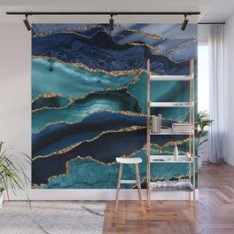 Ocean Blue Mermaid Marble Wall Mural