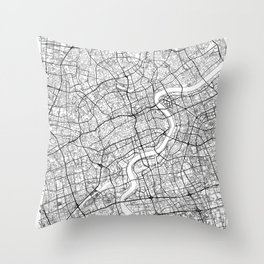 Shanghai Map White Throw Pillow