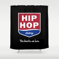 hip hop Shower Curtains featuring Hip Hop Bakery by Johnny Haru