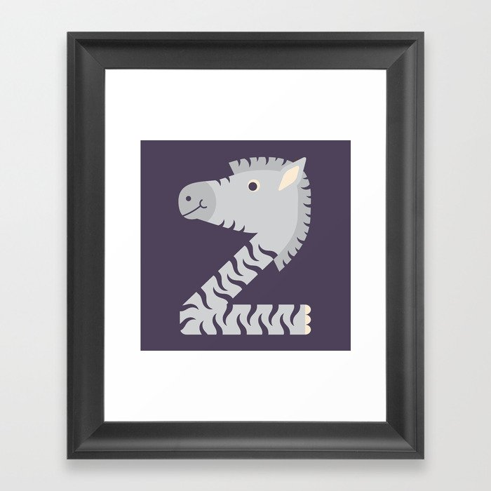 Letter Z // Animal Alphabet // Zebra Monogram Framed Art Print