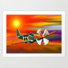 P 51 Mustang Cadillac of the sky Art Print