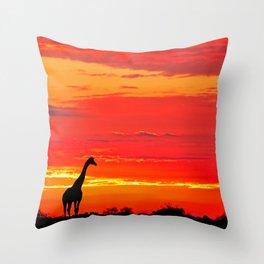 Giraffe at a sunrise in Namibia Throw Pillow