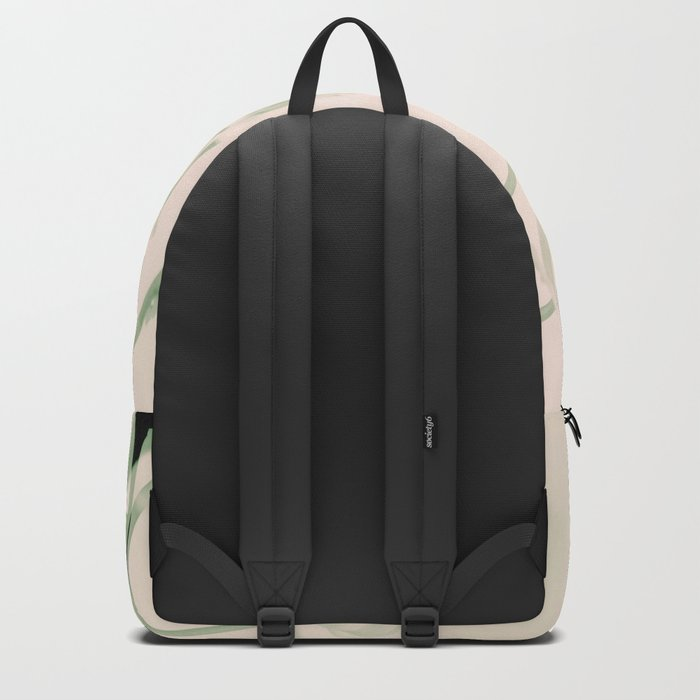 Flower branches on a pastel pink and green background - spring mood Backpack