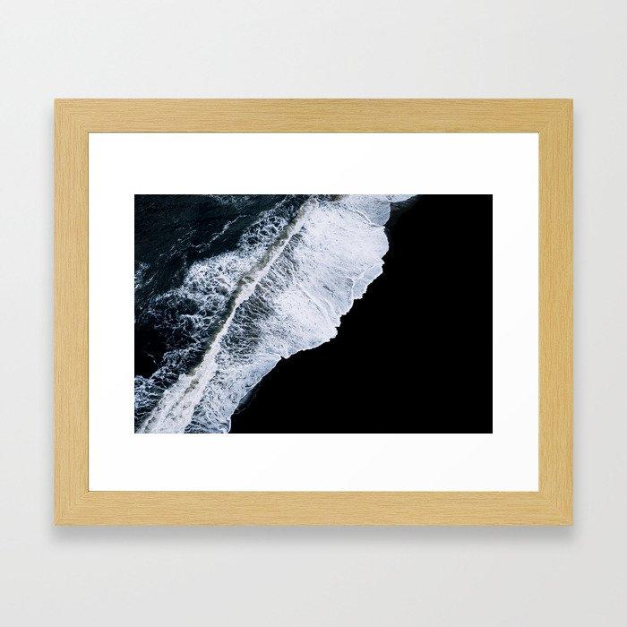 Waves crashing on a black sand beach – minimalist Landscape Photography Gerahmter Kunstdruck