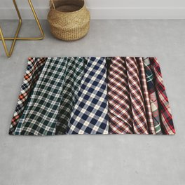 Abstract Of Lumberjack Checkered Textile Of A Variety Of Colors Rug