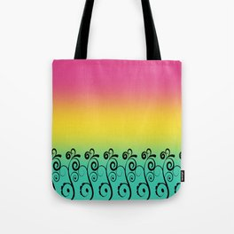 Ombre  Misty Rainbow Black Swirl Pattern - Pink, Yellow & Turquoise Tote Bag