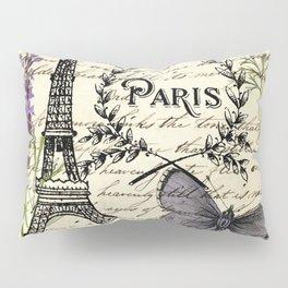 french botanical print purple butterfly lavender floral paris eiffel tower Pillow Sham