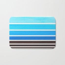 Cerulean Blue Minimalist Watercolor Mid Century Staggered Stripes Rothko Color Block Geometric Art Bath Mat