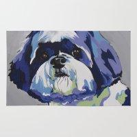 shih tzu Area & Throw Rugs featuring Shih Tzu Pop Art Pet Portrait by Karren Garces Pet Art
