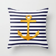 Marine pattern- blue white striped with golden anchor Throw Pillow