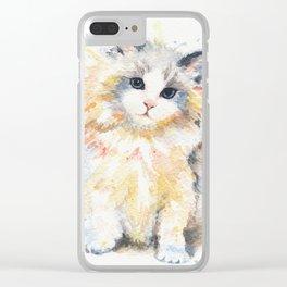Blue-Gem Ragdoll Cat Clear iPhone Case
