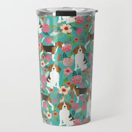 Beagle dog florals dog breed pattern must have cute gifts for pure bred dogs Travel Mug