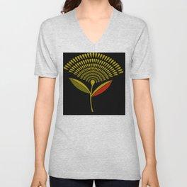 Mid Century Modern Dandelion Seed Head In Aspen Gold Unisex V-Neck